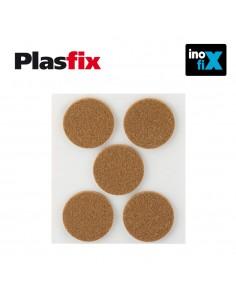 Pack 5 fieltros marrones sinteticos adhesivos diametro 34mm plasfix inofix