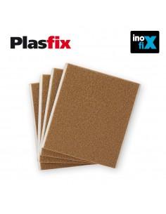 Pack 4 fieltros marron sinteticos adhesivos 100x85mm plasfix inofix