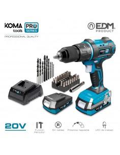 Taladro percutor/atornillador 20v con 2 baterias 2.0 ah y cargador koma tools pro series battery edm
