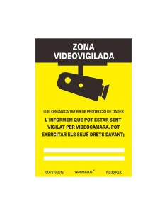Señal zona videovigilada pvc 0.7mm 21x30cm