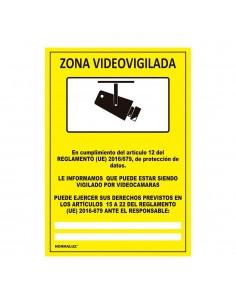 Señal zona videovigilada adhesiva  15x20cm