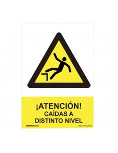 """Señal peligro """"atencion caidas a distinto nivel"""" (pvc 0.7mm)  30x40cm"""