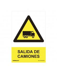 """Señal peligro """"salida de camiones"""" (pvc 0.7mm)  30x40cm"""