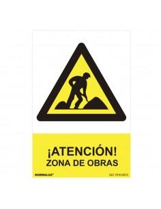 "Señal peligro ""zona de obras"" (pvc 0.7mm)  30x40cm"