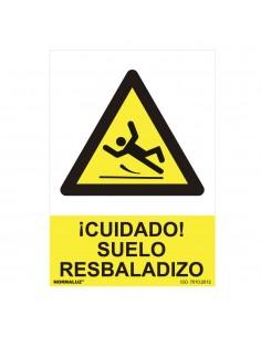 """Señal peligro """"cuidado suelo resbaladizo"""" (pvc 0.7mm)  30x40cm"""