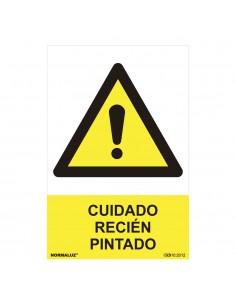 """Señal peligro """"cuidado recien pintado"""" (pvc 0.7mm)  30x40cm"""