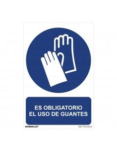 """Señal uso obligatorio """"es obligatorio el uso de guantes"""" (pvc 0.7mm)  30x40cm"""