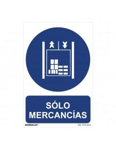 """Señal uso obligatorio """"sólo mercancías"""" (pvc 0.7mm)  30x40cm"""
