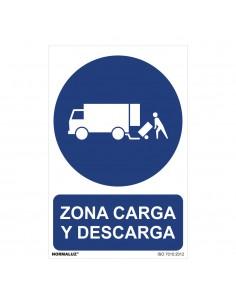 """Señal uso obligatorio """"zona carga y descarga"""" (pvc 0.7mm)  30x40cm"""