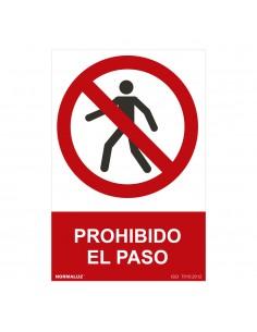 """Señal prohibido """"prohibido el paso"""" (pvc 0.7mm)  30x40cm"""