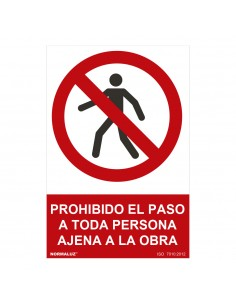 "Señal prohibido ""prohibido el paso a toda persona ajena a la obra"" (pvc 0.7mm)  30x40cm"