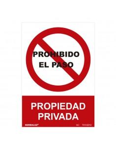 """Señal prohibido """"prohibido el paso propiedad privada"""" (pvc 0.7mm)  30x40cm"""