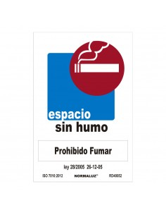 "Señal prohibido ""espacio sin humo"" (pvc 0.7mm)  30x40cm"