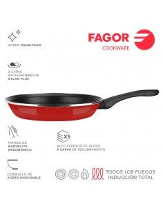 Sarten optimax ø18cm roja acero aisi 430 fagor