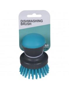 Cepillo lavaplatos redondo gris y turquesa