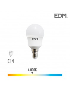 Bombilla esferica led e14 8.5w 940 lm 4000k luz dia edm