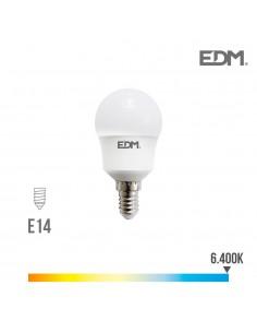 Bombilla esferica led e14 8.5w 940 lm 6400k luz fria edm