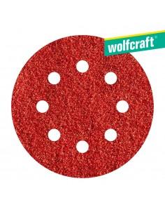 Pack 5 hojas de lijar adhesivas , corindón grano 120 perforadas ø125 mm wolfcraft