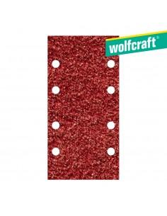Pack 10 hojas de lijar adhesivas , corindón grano 80 perforadas 93x185mm wolfcraft