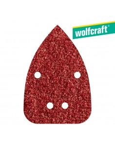 Pack 10 hojas de lijar adhesivas , corindón grano 80 perforadas 96x136mm wolfcraft