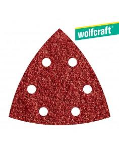 Pack 5 hojas de lijar adhesivas , corindón grano 80 perforadas 95mm wolfcraft