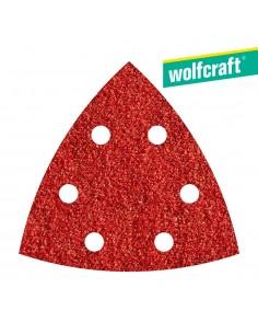 Pack 5 hojas de lijar adhesivas , corindón grano 120 perforadas 95mm wolfcraft