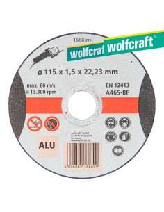 Disco de corte para aluminio ø 115 x 1,5 x 22,23mm. wolfcraft