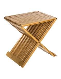 Silla plegable bambú para baño 45x40x32cm