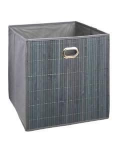 Cesta para mueble de baño bambú gris 31x31x31cm