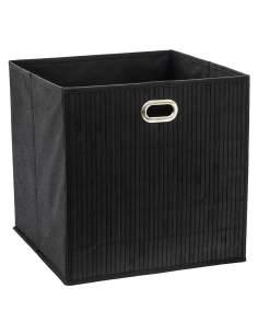 Cesta para mueble de baño bambú negro 31x31x31cm