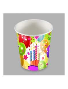 Bolsa 25 vaso diseño globos y velas 200cc carton