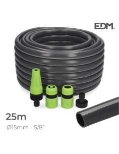"Kit manguera jardin pvc con acces. ecolight ø inter.15mm, ø exter.  20mm (5/8"")  rollo 25m edm"