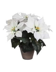 Planta artificial de pascua blanca-poinsettia ø33cmx30cm