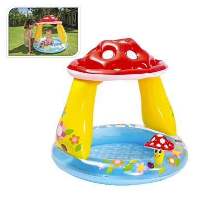 Mini piscina infantil con techo modelo champiñon