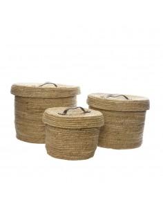 Pack de 3 cestos de fibra natural con tapa y asa